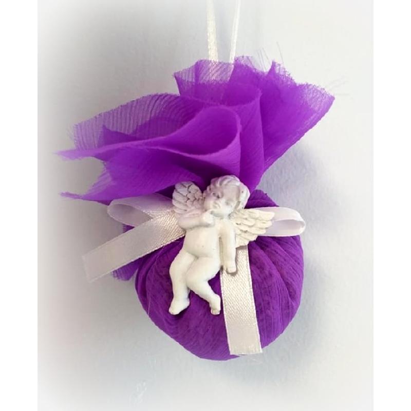 Organza batyu - angyalkával, lila ind.