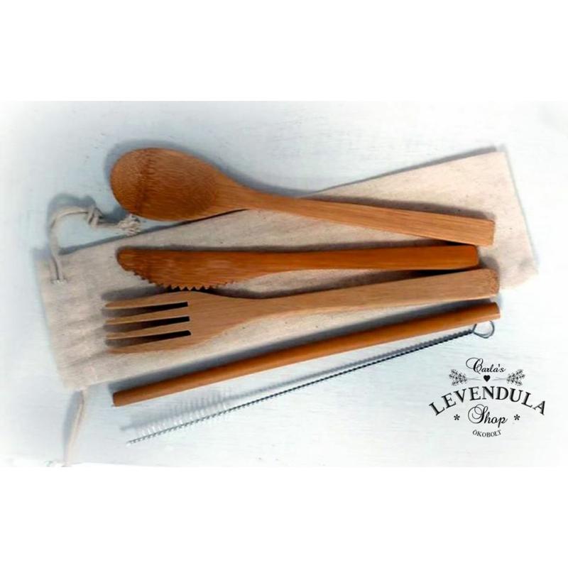 Bambusz utazó evőeszköz készlet