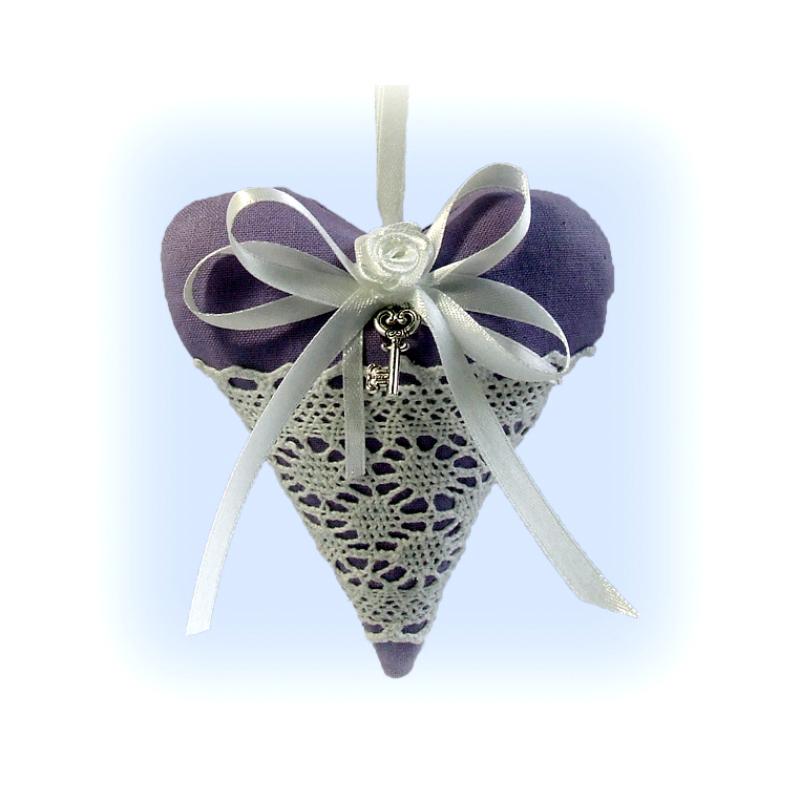 Vintage levendulás szív (világos lila)