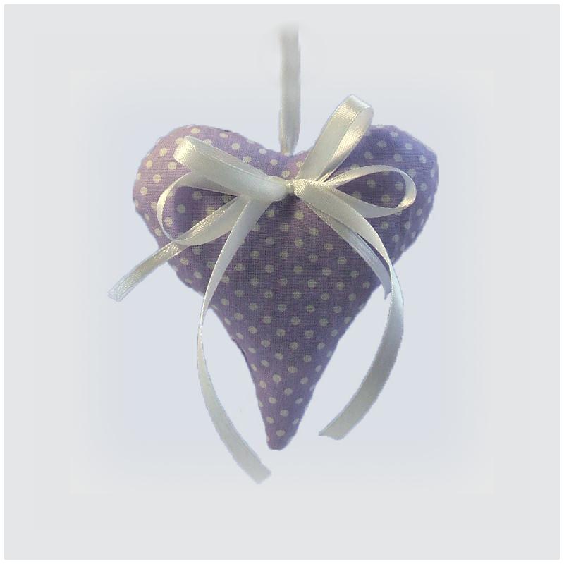 Levendula szív (világos lila pöttyös)