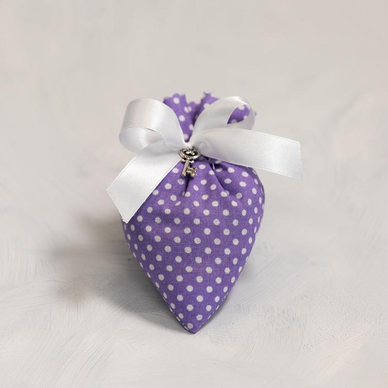 Szív batyu - világos lila pöttyös