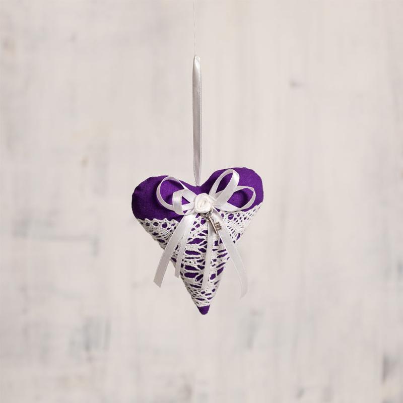 Vintage levendulás szív (sötét lila)